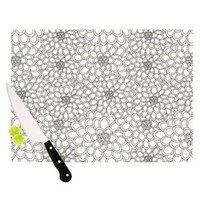 Kess InHouse Julia Grifol White Flowers Cutting Board, 11.5 by 15.75-Inch
