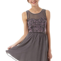 Grey Floral Beaded Dress