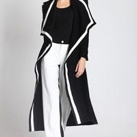 Oversized Turned Collar Longline Worsted Coat