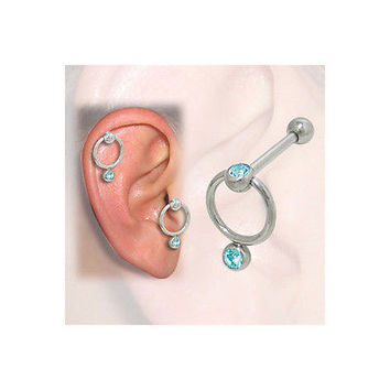 Cartilage-Tragus Door Knocker Design with Jewels(16G-3/8 In-10mm) - PFSS-77-8-T