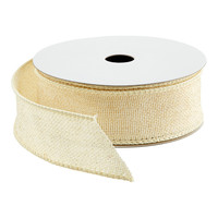 Ivory Glitter Faux Burlap Wired Ribbon
