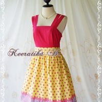 Jazzie III - Gorgeous Rockabilly Dress Hot Pink/Yellow Color Polka Dot Dress Hot Pink Top Tea Dress Party Dress Day Dress