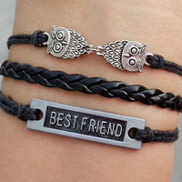 Best friend bracelet, owl bracelet,Antique Silver Bracelet -Christmas gift - Best Chosen Gift