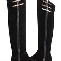Metal Embellished Over-the-knee Flat Leather Boots
