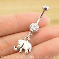 cute elephant Belly Button jewelry,elephant Navel Jewlery,lucky button ring,friendship jewelry,christmads gift,oceantime