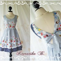 Lady Lolita - Adorable Cutie Backless Dress With Pretty Bow Tie Dark Navy Stripe And Cartoon Print Party Dress Sundress Tea Dress
