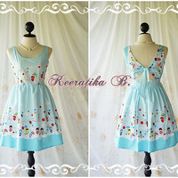 Lady Lolita - Adorable Cutie Backless Dress With Pretty Bow Tie Blue Stripe And Cartoon Print Party Dress Sundress Tea Dress