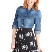 Stun, Moon, and Stars Skirt | Mod Retro Vintage Skirts | ModCloth.com