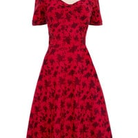 Crimson Coquette Retro Flair Dress
