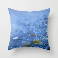 Green kelp on the rock Throw Pillow by Guido Montañés