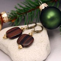 Geometric Wood Earrings - Wood Drop Earrings