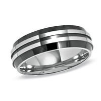 Men's 7.0mm Engraved Two-Tone Titanium Wedding Band (40 Characters)