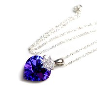 Love Heart 18 mm Royal Purple Swarovski Elements Crystal Necklace, 925 Sterling Silver Lace chain Necklace, and Diamond Style Rhinestone Crystal Bail -