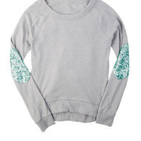 Brushed Sequin Elbow Patch Long-Sleeve