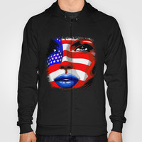 Usa Flag on Girl's Face Hoody by Bluedarkat Lem