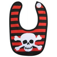 Okutani Skull and Crossbones Red and Black Striped Baby Bib Kids Accessories at Broken Cherry