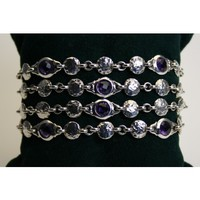 Scott Kay Sterling Silver Scott Kay 4-Row Bracelet with Amethysts