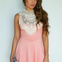 Peach Skater Dress with White Lace Neckline Detail