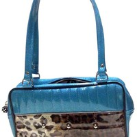 Trophy Queen Lincoln Tote - Sky/Leopard Accessories Purses at Broken Cherry
