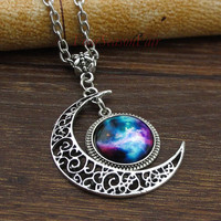 Necklace,Bib Necklace, Moon necklace ,Charm necklace,Silver hollow star galactic cosmic moon necklace,friendship christmas gift