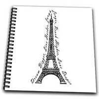 Janna Salak Designs Travel - Paris Dream Bigger Inspirational Design Black and White - Drawing Book