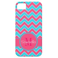 Aqua & Pink Chevron Pattern Custom Monogram iPhone 5 Case