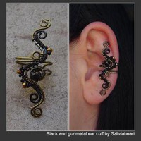 black and gunmetal ear cuff by *szilviabead on deviantART