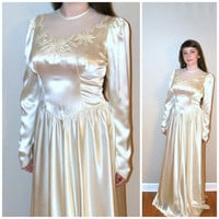 vintage 40s wedding dress / 1930s 1940s dress / liquid satin wedding dress