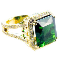 16.4 carat Green Tourmaline & Diamond Ring
