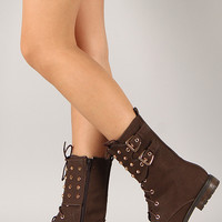 Nova-1 Studded Spike Lace Up Military Mid Calf Boot