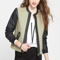 Collection B Quilted Mixed Media Bomber Jacket (Juniors) | Nordstrom