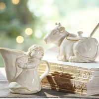 Eight Maids Milking Sugar Bowl & Creamer