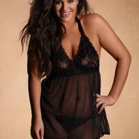 Plus Size Lingerie | Plus Size Halter Babydoll With Stretch Lace Cups | Hips & Curves
