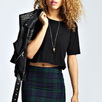 Poppy Lace Trim Tartan Mini Skirt