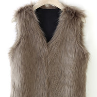 Chicwish Faux Fur Vest in Camel