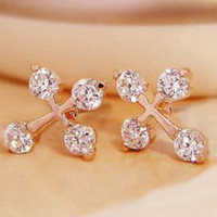 Fashion Cross Rhinestone Statement Earrings