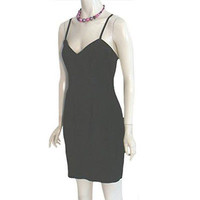 1980s Vintage Black Suede Body Con Mini Dress Firenze Santa Barbara