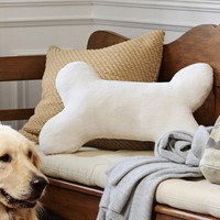 COZY SHERPA DOG BONE PILLOW, IVORY