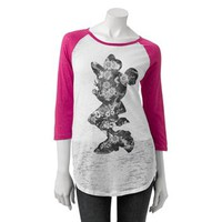 Disney Minnie Mouse Burnout Raglan Tee - Juniors
