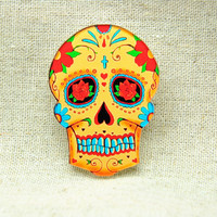 antique vintage style flower cute skull Pin Brooch BR005