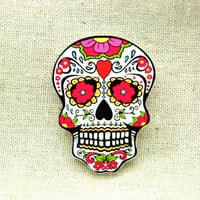antique vintage style flower cute skull Pin Brooch BR006