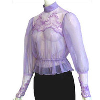 1970s Vintage Sheer Victorian Lilac Nylon Blouse Open Back Embroidery