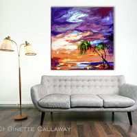 Abstract PALMS and Beach Sunset Square Decorative Modern Art 40 x 40 inches Giclee on Canvas from original Oil Painting by Ginette