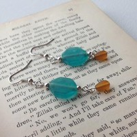 Aqua and Amber Dangle Earrings