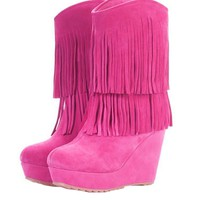 Double-layer Tassel Wedge Boots