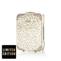 CREAM LEOPARD PRINT FAUX FUR SUITCASE
