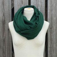 Pine Green Infinity Scarf - Hunter Green Eternity Scarf - Snood Hood - Unisex