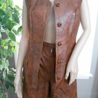 Vintage 70's Carmel Leather Vest and Short Set