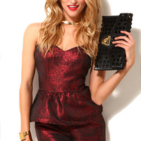 Metallic Peplum Romper in Red