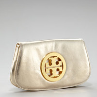 Metallic Logo Clutch With Chain